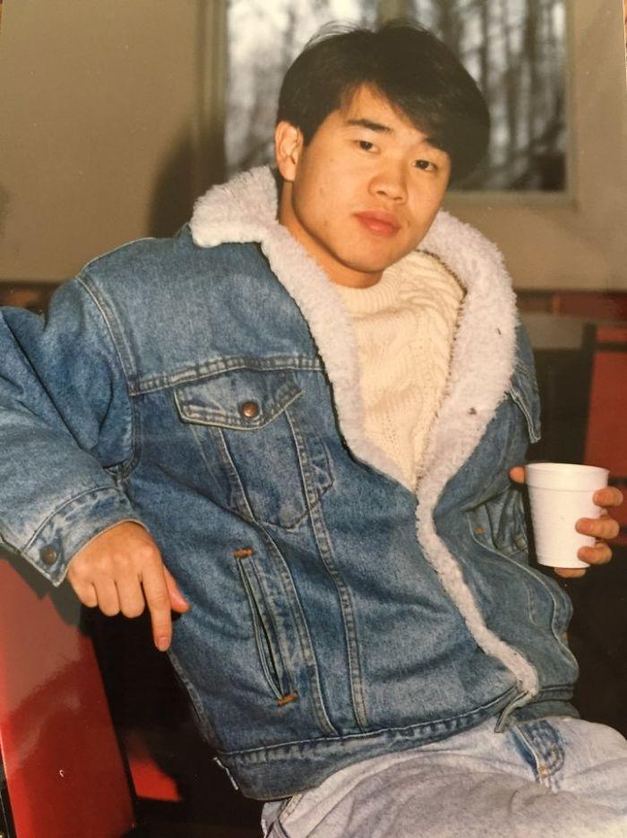 Отец пьет кофе в 1988